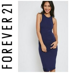 FOREVER 21 navy crew neck velvet tank dress SZ M